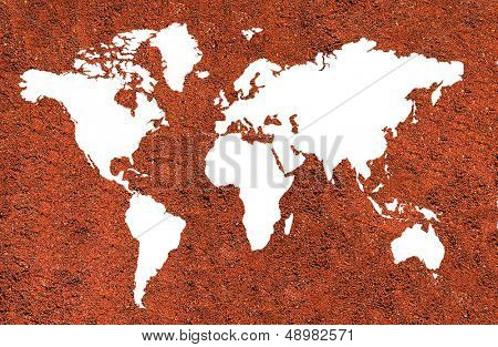 World  map on coffee background