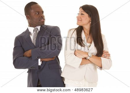 Business Man And Woman Stand Back To Back Turn Look