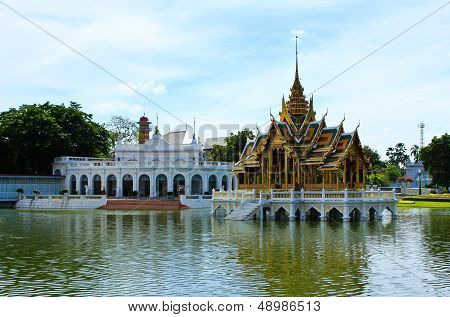 Bang Pa-in Aisawan, Artificial Lake With Bridge And Temple