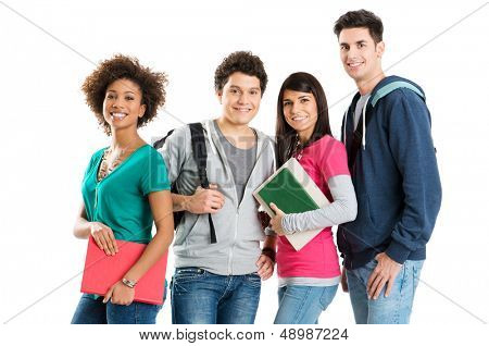 Group Of Multi Ethnic Students Isolated On White Background