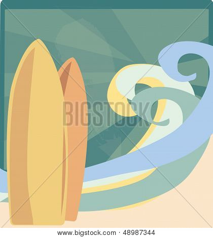 Surf Boards with Waves and Sun Rays on the Beach