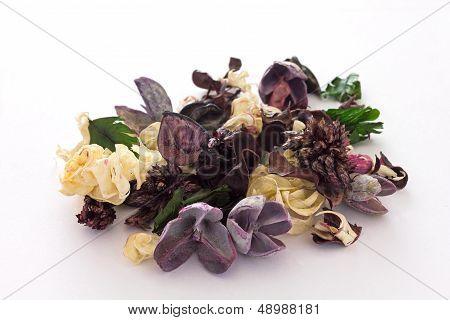 Purple and pale yellow potpourri