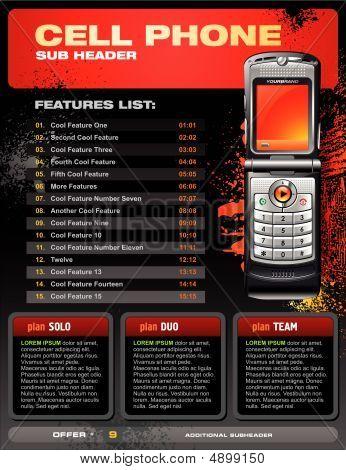 Folleto promocional del teléfono celular