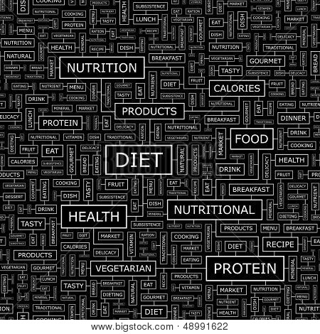 DIET. Concept vector illustration. Word cloud with related tags and terms. Graphic tag collection. Wordcloud collage.