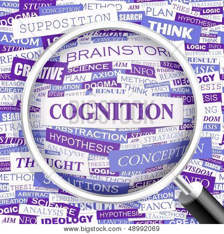 COGNITION. Concept vector illustration. Word cloud with related tags and terms. Graphic tag collection. Wordcloud collage.