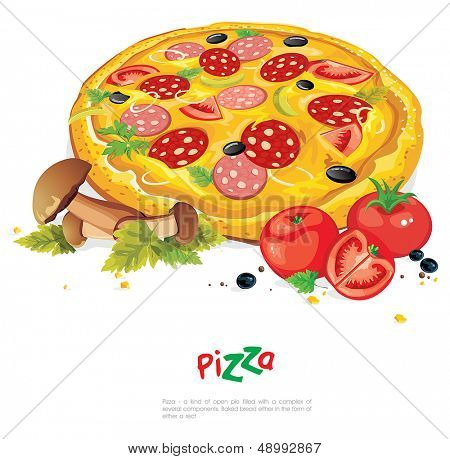 Appetizing pizza with mushrooms isolated on white. Abstract Elegance food illustration