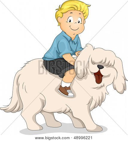 Illustration of a Boy Riding on the Back of a Dog