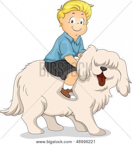 Ilustração de um menino andando na parte de trás de um cão