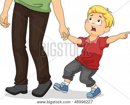 Ilustración de un chico asustado tirando de la mano de su padre mientras señalando algo