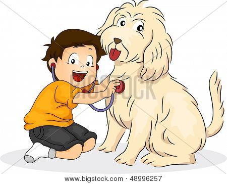 Illustration of a Boy Pressing a Stethoscope Against His Dog's Chest