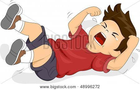 Illustration of a Boy Rolling on the Floor While Throwing a Tantrum