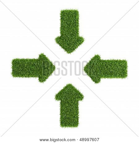 Converging arrows symbol from grass