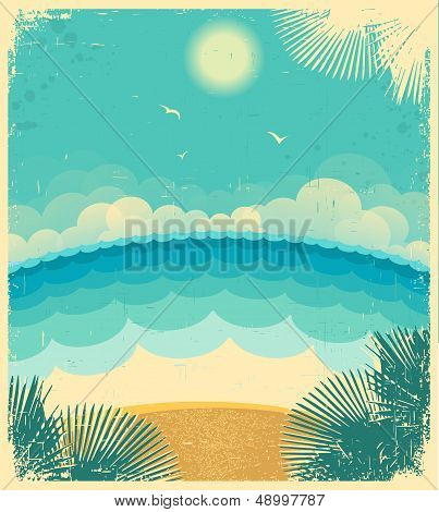 Vintage Seascape.vector Background With Sea And Sun On Old Paper Texture.vector Illustration For Tex