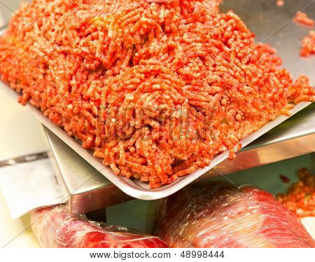 Fresh forcemeat on tray in the market