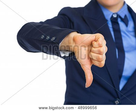 Closeup On Business Woman Showing Thumbs Down