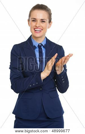 Smiling Business Woman Clapping