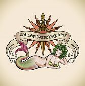 Old-school styled tattoo of a green hair mermaid on the background of a rose of winds and a banner.