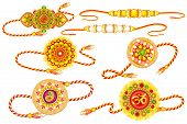 picture of pooja  - vector illustration of decorated rakhi for Raksha Bandhan - JPG