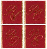 Collection of textile monograms design on a ribbon. RA, RC, RD, RE