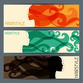 stock photo of barbershop  - Hairstyle horizontal banners - JPG