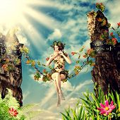 stock photo of fairyland  - Young beautiful fairy woman playing the flute while sitting on a swing in the chain between the rocks and leaves - JPG