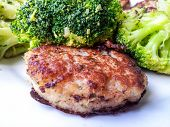 picture of patty-cake  - Fresh white fish cake with beautiful broccoli on the side