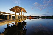 picture of dock a pond  - Country lake in north Georgia - JPG