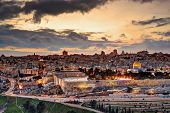 image of aqsa  - Skyline of the Old City and Temple Mount in Jerusalem - JPG