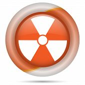 foto of radium  - Glossy icon with white design on orange plastic background - JPG