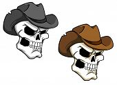 stock photo of outlaw  - Cowboy skull in brown hat for tattoo or mascot - JPG