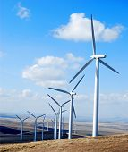 stock photo of wind-power  - Multiple wind generators south of Kennewick in southeastern Washington state - JPG