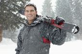 foto of cold-shoulder  - Portrait of a confident young man holding skis on shoulder in snow - JPG