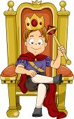 stock photo of throne  - Illustration of a Kid Boy Prince Sitting on His Throne - JPG