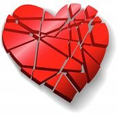 stock photo of broken-heart  - A heartbroken shattered red Valentine heart symbol of love broken to pieces - JPG