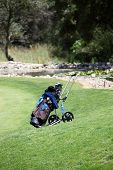 picture of caddy  - Golf bag and clubs standing on a green on a golf course sttached to a wheeled caddy cart - JPG