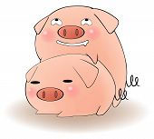 stock photo of sluts  - Two cartoon pigs having sex with cunning expression create by vector - JPG