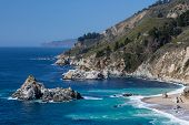 stock photo of pch  - A view out to sea along Big Sur coastline in California USA - JPG