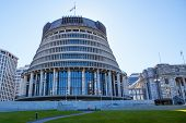 picture of beehive  - The Beehive parliament building in Wellington New Zealand - JPG