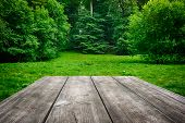 image of insert  - Wooden picnic table with green nature background - JPG