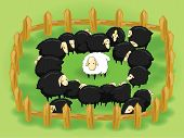 image of differential  - White sheep in the flock of black sheep - JPG