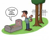 stock photo of deceased  - A deceased person tells a man he quit smoking from his grave - JPG