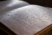 foto of braille  - page written in braille alphabet for blind people - JPG