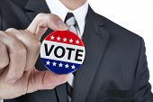 stock photo of human-rights  - A politician is promoting the right to vote in political elections in the USA - JPG