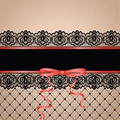 stock photo of garter  - Black stockng with lace garter - JPG