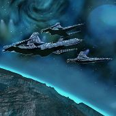 picture of starship  - Starships near an alien planet with comets in the sky - JPG