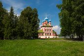 pic of uglich  - Temple of Tsarevich Dmitry on the Blood of Uglich city day lighting positive key - JPG