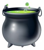 foto of witches cauldron  - Cartoon Halloween witch - JPG