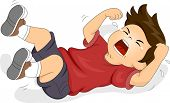 picture of crying boy  - Illustration of a Boy Rolling on the Floor While Throwing a Tantrum - JPG
