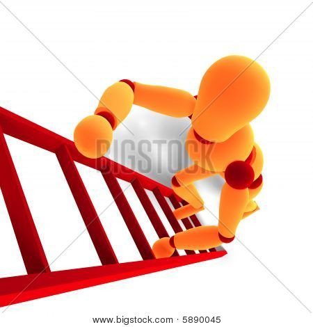 Orange / Red  Manikin Climbing A Ladder