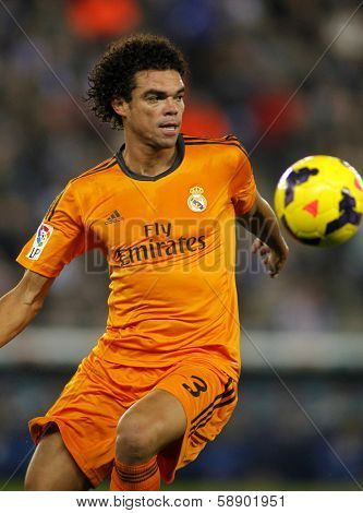 BARCELONA - JAN, 12: Pepe Lima of Real Madrid during the Spanish League match between Espanyol and Real Madrid at the Estadi Cornella on January 12, 2014 in Barcelona, Spain